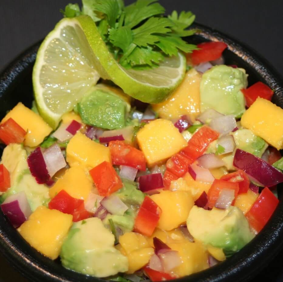 Refreshing mango avocado salsa
