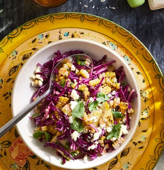 Crunchy corn and cabbage slaw