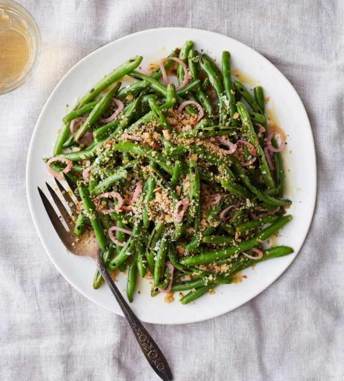 Green Beans with Pickled Shallots And Bread Crumbs