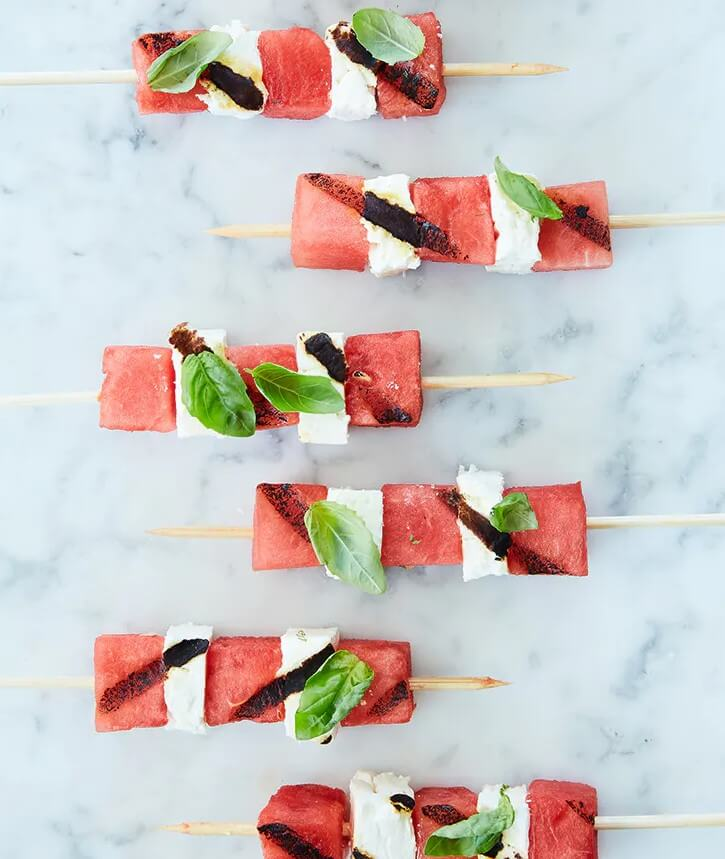 Fruity watermelon and feta cheese skewers
