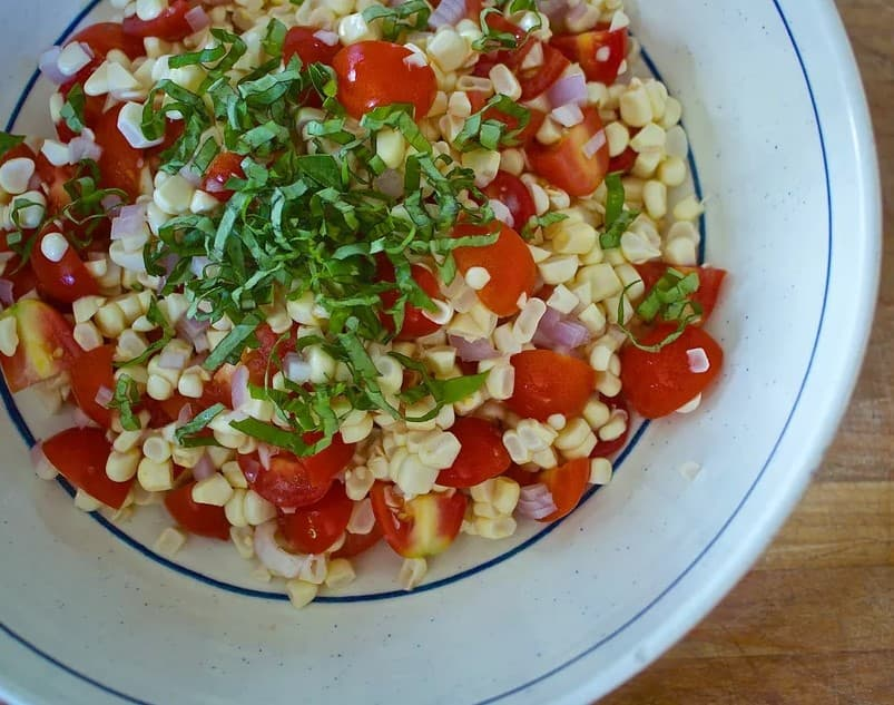 Basil, corn and tomato salad